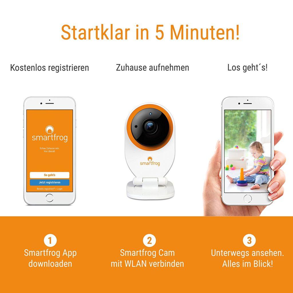 smartfrog-Überwachungskamera für zuhause mit app und cloud speicher